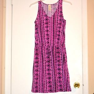 Purple Boho Aztec Stretchy Knit Dress Small